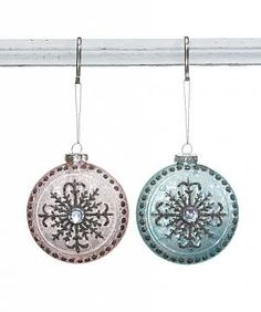 ROUND MERCURY GLASS ORNAMENT W/ JEWELS, 2 COLORS, EACH, 4""