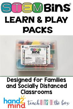 Our STEM Bins Learn and Play Pack encourages students to create, invent, and solve problems using their own set of maker materials. Each bin includes 6 double-sided Task Cards that use thoughtfully designed real-world challenges to encourage exploration of open-ended engineering concepts, a write-on/wipe-off Blueprint Card for planning, and 6 different building materials in a divided plastic storage tote.