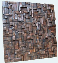 Caribbean Nights Oil on the Mixed wood, Dim. Wood Artwork, Wooden Wall Art, Wooden Walls, Wooden Blocks, Diy Furniture Easy, Wicker Furniture, Craftsman Frames, Stairwell Wall, Wood Mosaic