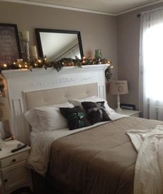 DIY Fireplace Mantel Headboard.  One of the best projects I have seen in a very long time. Really beautiful!