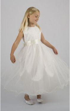 Wholesale Princess Ankle-length Jewel White Organza Dress