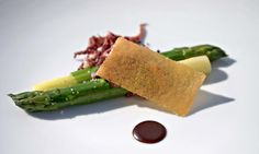 Unique serving suggestion for green asparagus. Photo Courtesy of Gourmet Trading Company.
