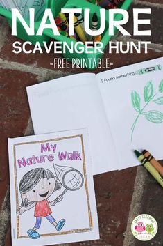 Use these free printable nature scavenger hunt books to encourage kids to write, draw, and read while exploring their world. Perfect for pre-k, preschool or kindergarten age kids. Use the free printables in the classroom,  on the playground, during nature walks or hikes, on camping trips, in the backyard, or for at home learning  Use this emergent reader for your plant and seeds theme, spring theme, and pond theme unit and lesson plans.