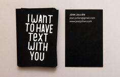 Graphic designer and illustrator Jean Jullien's business cards. Love him