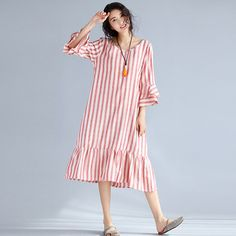 Ladies Retro Vintage Dress 2017 Summer Style Women Butterfly Sleeve Cotton and Linen Long Striped Dresses Plus Size #Affiliate