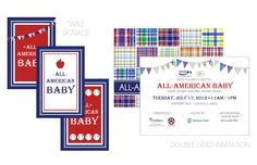 Operation Shower - All-American Baby invitation and signage by @WH Hostess