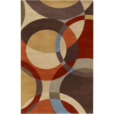 Hand-tufted Contemporary Multi Colored Circles Mayflower Wool Geometric Rug - Overstock Shopping - Great Deals on 5x8 - 6x9 Rugs