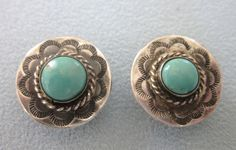 Old Pawn Sterling and Turquoise Cuff Links