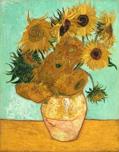 Sunflowers on Blue, 1888 Artist: Vincent Van Gogh. Vincent Willem van Gogh was a Dutch post-Impressionist painter whose work, notable for its rough beauty, emotional honesty and bold color. Art Van, Van Gogh Art, Vase With Twelve Sunflowers, Van Gogh Sunflowers, Wall Art Prints, Fine Art Prints, Poster Prints, Canvas Prints, Art Posters
