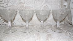 Vintage Crystal Brilliant Wine Glasses Set Of 4 by FabulousFinds1, $24.50