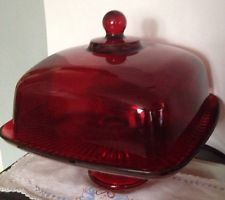 Red Cake Plates Vintage Square Ruby Plate Stand Pedestal W Dome Cover Sharp And Trays In 2018 Pinterest