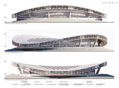 the velodrome proposal designed by BIVAK adds a new function of metropolitan importance to the existing uses of the former óbuda gasworks site in budapest. Stadium Architecture, Pavilion Architecture, Cultural Architecture, Architecture Portfolio, Concept Architecture, Futuristic Architecture, Amazing Architecture, Landscape Architecture, Airport Design