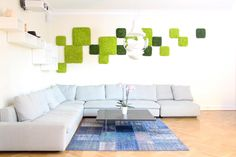 Spring Green & Moss Green Nordgröna Reindeer Moss Panel wall in a private Home.
