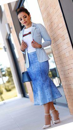 Skirt outfits modest denim new ideas - Skirt cuts - Denim Fashion Trend Fashion, Denim Fashion, Girl Fashion, Fashion Outfits, Skirt Outfits Modest, Denim Skirt Outfits, Pants Outfit, Casual Wear, Casual Outfits