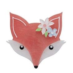 Elegant Floral FROND FOX Resin Brooch by Erstwilder
