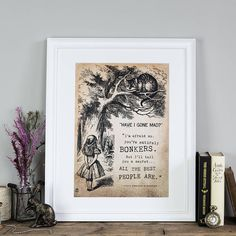 Alice In Wonderland Wall Art Print - Gifts For Friends - Bonkers - Unique Gift For Wife - Gifts For Her - Birthday Gifts - Literary Gifts Alice In Wonderland Print, Alice And Wonderland Quotes, Adventures In Wonderland, Wall Art Prints, Poster Prints, Framed Prints, Gifts For Wife, Gifts For Friends, Have I Gone Mad