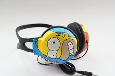 Hand painted Philips headphones by atelierChloe - gift for a fan of Mr. Burns and Homer Simpson.