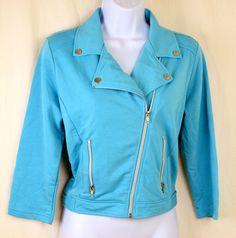 Stylish SelfEsteem women's jacket/blazer net backing size L aqua, silver zippers #SelfEsteem #Blazer $22.95
