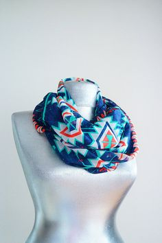Scarf - Handmade Tribal Infinity Scarf - Chiffon - Navy Blue Turquoise Red White - Summer Spring Scarf