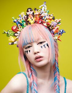 "midnight-charm: "" ""Stay Punk"" Fernanda Ly photographed by Mario Sorrenti for i-D Magazine Pre-Spring 2016 Fashion Editor: Alastair McKimm Hair: Recine Makeup: Diane Kendal "" Mario Sorrenti, Art Visage, Mode Alternative, Crazy Hats, Nadja Auermann, Harajuku Fashion, Visual Kei, Pastel Goth, Headgear"