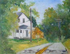 Road near Belmont~ 11 inches x 14 inches Painting by Carol Josefiak 11 x 14 for sale at Water Street Studio, Fredericksburg, VA.