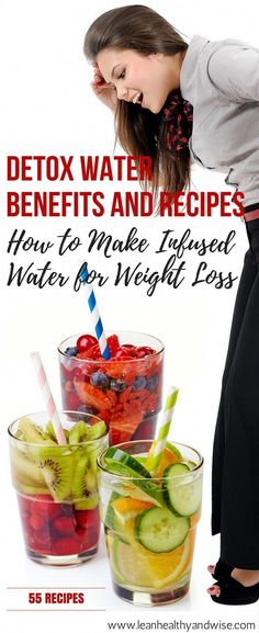 Detox water, also called fruit infused water is a delicious, low calorie alternative to sugary beverages that has many health benefits. Discover 55 delicious recipes for weight loss. via (Vegan Smoothies For Weight Loss) Detox Diet Drinks, Natural Detox Drinks, Smoothie Detox, Fat Burning Detox Drinks, Detox Juices, Vegan Smoothies, Fruit Smoothies, Detox Cleanse For Weight Loss, Full Body Detox