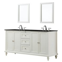 Our 70 in Classic Double Bathroom Vanity Sink and Cabinet with black granite top is the perfect compliment for any traditional-style home and bathroom Our exclusive pearl white double vanity cabinet is raised slightly off of the floor by beautifully carved classic turned-feet to provide