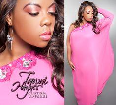 Tawni Haynes Chiffon Goddess Gown with hand-sewn rhinestone embelishments.