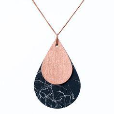 Ketten mittellang - nice Tropfenkette Marmor Look schwarz - ein Designerstück von nicenicenice bei DaWanda