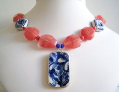Chunky Strawberry Quartz Necklace with Pottery Shard Pendant by polishedtwo, $28.00