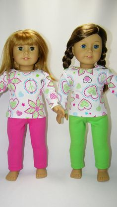 Pajama set for your American girl doll Hot by CindyrellasCloset