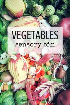 Best Toys 4 Toddlers - Vegetables sensory bin for preschoolers - expose kids to new vocabulary and textures