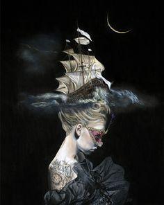 "Tempestuous ""Phases de la lune"" acrylic and graphite on gesso board, 2012 18 x 24 inches, 45.7 x 61 cm"