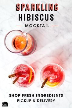 Make Dry January fresh and fruity with a sparkling hibiscus mocktail. Our quality ingredients will be sure to hit the spot. Party Drinks, Cocktail Drinks, Fun Drinks, Yummy Drinks, Healthy Drinks, Healthy Recipes, Cocktails, Drink Recipes, Healthy Food