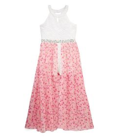 63f17c2b454 Speechless White   Pink Floral Embellished Skirted Romper - Girls
