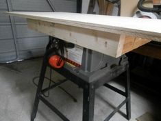TABLE SAWS Create workbench to sit atop a little used table saw. Very easy to do with Kreg jig! Used Table Saw, Home Made Table Saw, Table Saw Sled, Diy Table Saw, Circular Saw Table, Best Circular Saw, Table Saw Workbench, Table Saw Jigs, Woodworking For Kids