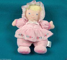 Prestige Blonde Rattle Doll Soft Plush Baby Lovey Blue Eyes Pink Dress #Prestige