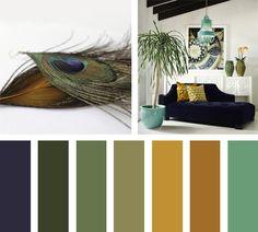 Con cierta tendencia Boho, Color Pavo Real es una paleta de colores arriesgada con mucha vida y buena intención. Azules, naranjas y verdes conviviendo en armonía.   Espacio via VtWonen