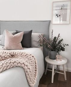 This is a Bedroom Interior Design Ideas. House is a private bedroom and is usually hidden from our guests. However, it is important to her, not only for comfort but also style. Much of our bedroom … Dream Bedroom, Home Bedroom, Bedroom Furniture, Blush Bedroom, Blush Pink And Grey Bedroom, Budget Bedroom, Gray Bed, Furniture Plans, Bedroom Black