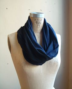 Black and Navy cotton jersey Loop Scarf
