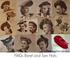 1940s beret hats 1940s tam hats