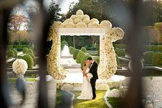Increible white floral garden ceremony altar -- Brett Matthews Photography.  White floral mandap