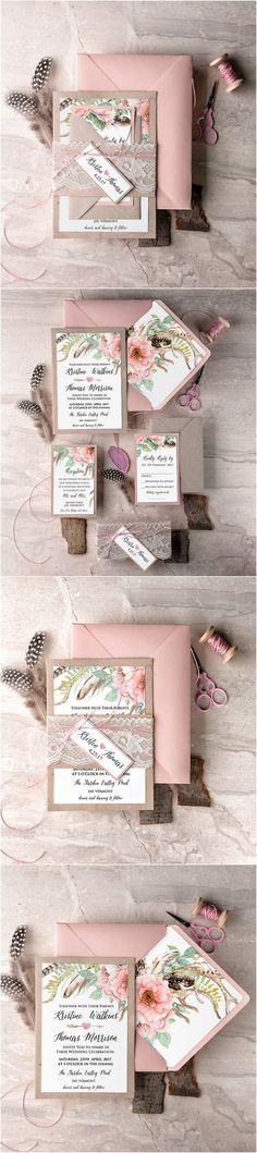 Pink Bohemian Kraft Paper & Lace Wedding Invitations // #rusticwedding #countrywedding #weddingideas