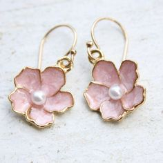 """Pink blossom earrings -Faux pearl, gold plate pink enamel petals-14K gold plate French earwires-Earrring measures approx. 1"""". $28.00 at lalapatoot.com"""