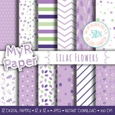 """Lilac Digital Paper: """"Lilac Flowers"""" pack of backgrounds with floral, leaves, stars and hearts di MyRpaper su Etsy"""