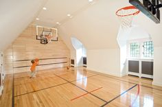 Mid-Country Tudor - traditional - Home Gym - Other Metro - Douglas VanderHorn Architects Home Basketball Court, Basketball Hoop, Basketball Cupcakes, Basketball Signs, Basketball Playoffs, Sports Court, Basketball Funny, Basketball Uniforms, Sports Basketball
