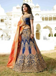 Bridal Choice Lehenga  2017 BRIDAL WEAR BLUE LEHENGA CHOLI WITH DESIGNER BLOUSE-DUPATTA