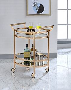 Imagine the look on everyone's face when you roll out an appetizing cart of wine, food, and desserts for your guests. Easily display your favorite wine, food items, and glassware with this portable kitchen serving cart with two spacious tempered glass shelves. This contemporary food service... more details available at https://furniture.bestselleroutlets.com/game-recreation-room-furniture/home-bar-furniture/bar-serving-carts/product-review-for-comfortscape-contemporary-k