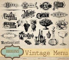 Vintage Menu Wine List Vectors by Origins Digital Curio on @creativemarket