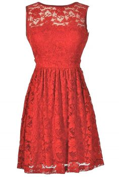 A-Line Lace Overlay Dress in Holiday RED